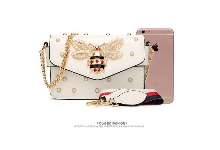 Tasarımcı-Gem küçük arı Kadınlar Messenger Çanta Marka Desinger kolye bayan deri Debriyaj çanta lüks serisi çanta kadın çantası tasarımcısı