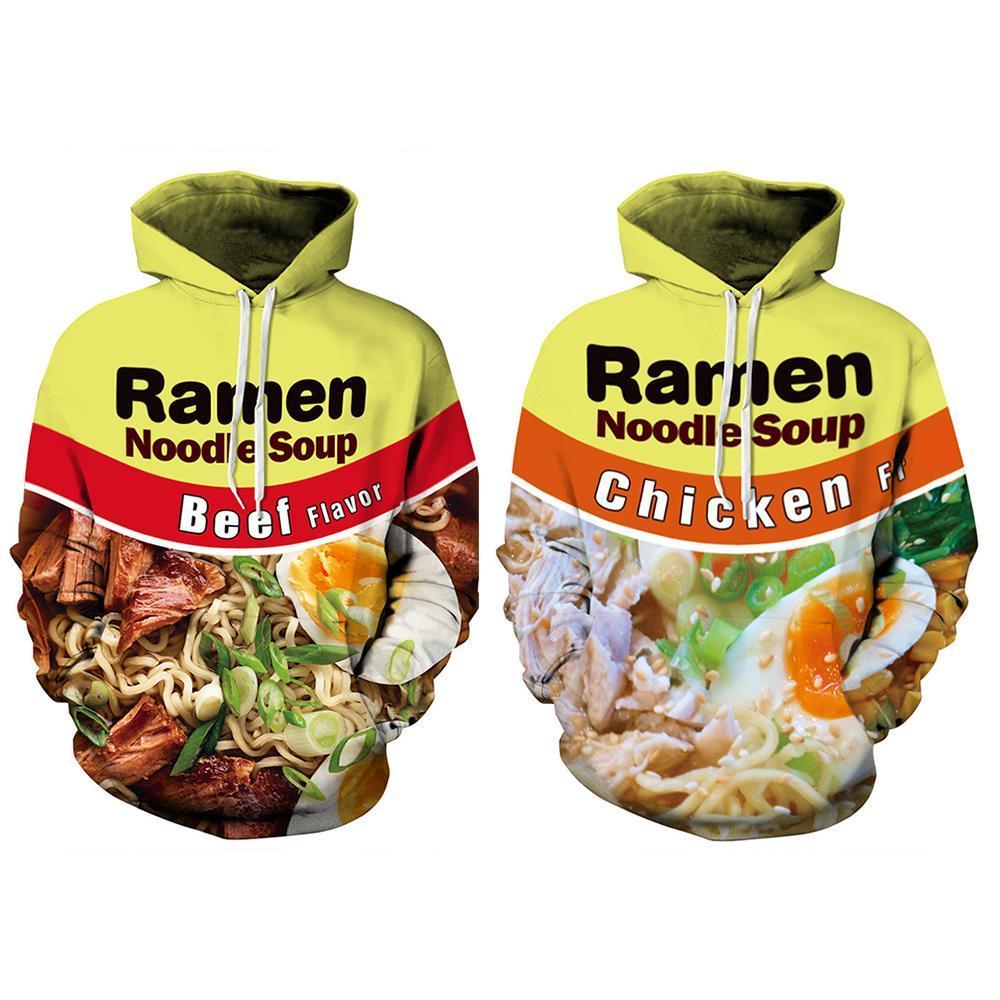 남자라면 국수 쇠고기 닭고기 수프 3D는 후드 스웨트 캐주얼 풀오버 남여 플러스 사이즈 가을 겨울 스트리트 여성을 인쇄