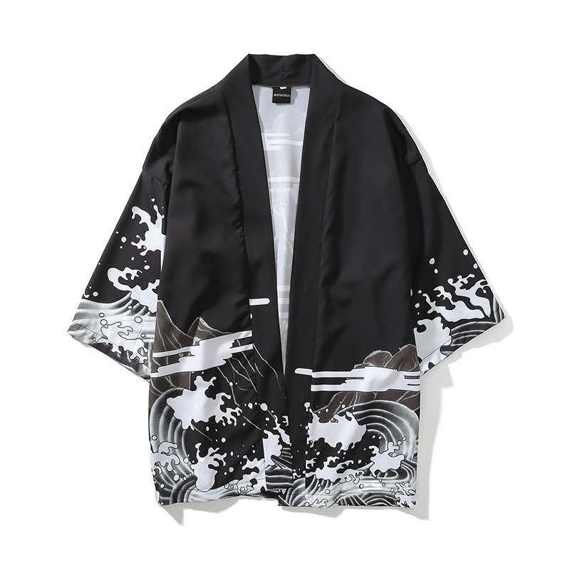 Модные мужские печатные кардиганы свободные халаты в японском стиле Тренд универсальная куртка свободные топы