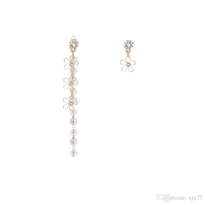 Ten Mile Peach Curtain South Korea Soft and Smart Crystal Flower tasseled Earrings Female Back-hanging Drilling Ear Nail E858