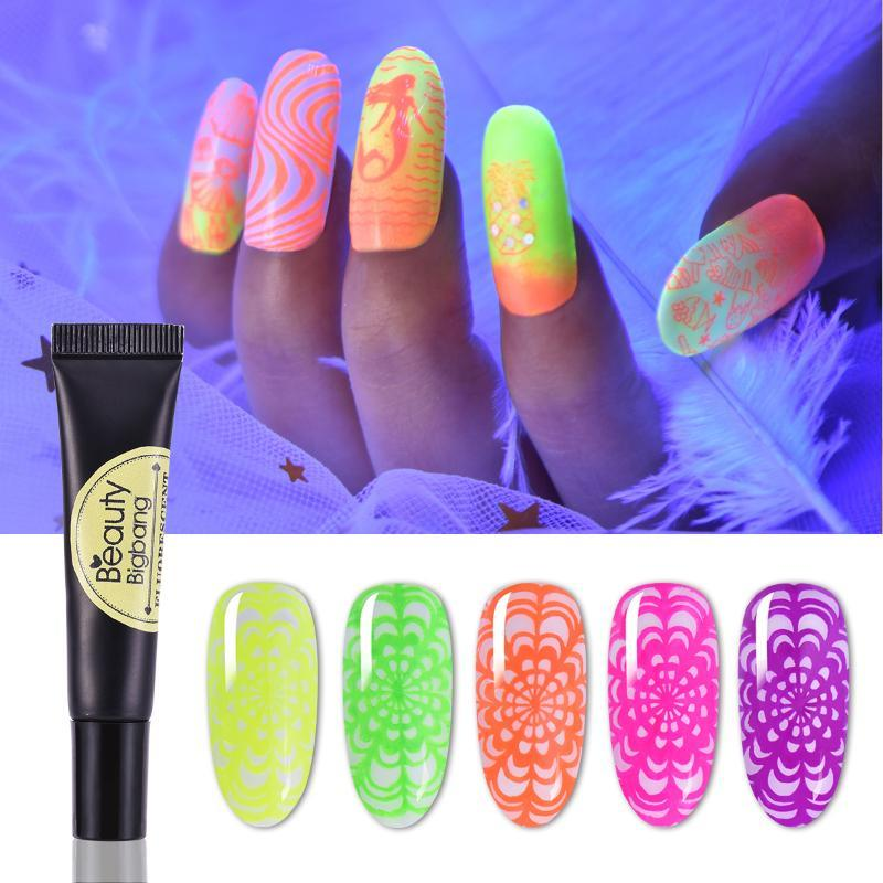 Beautybigbang 8ml Neon Stamping Gel fluorescente Soak Off colorido Varnish brilham no escuro Luz UV Nail Art para Plates