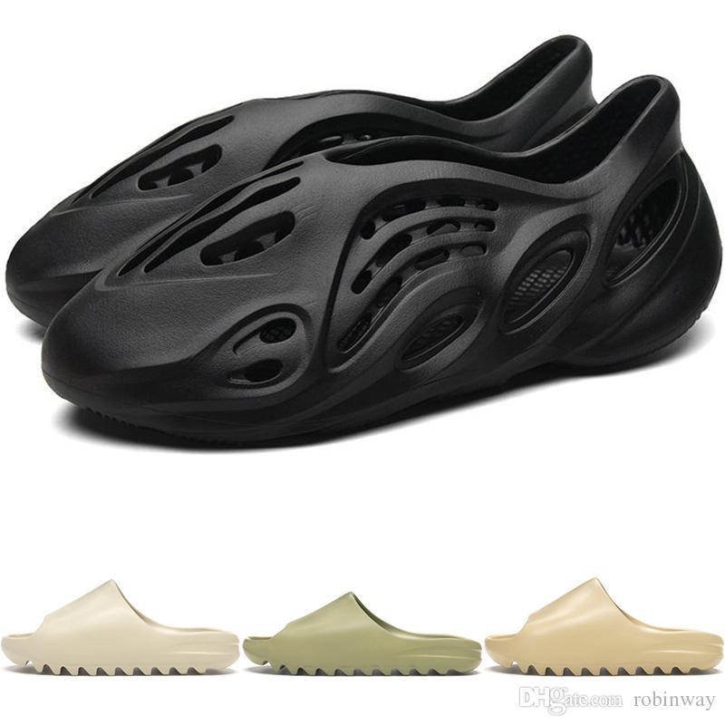 New Kanye West Foam Runner Herren Sandalen Slipper Sommer-Strand-Flip-Flop Schwarz Weiß Slide Wüste Knochen Designer Freizeit Sandalen Loafer FW6345