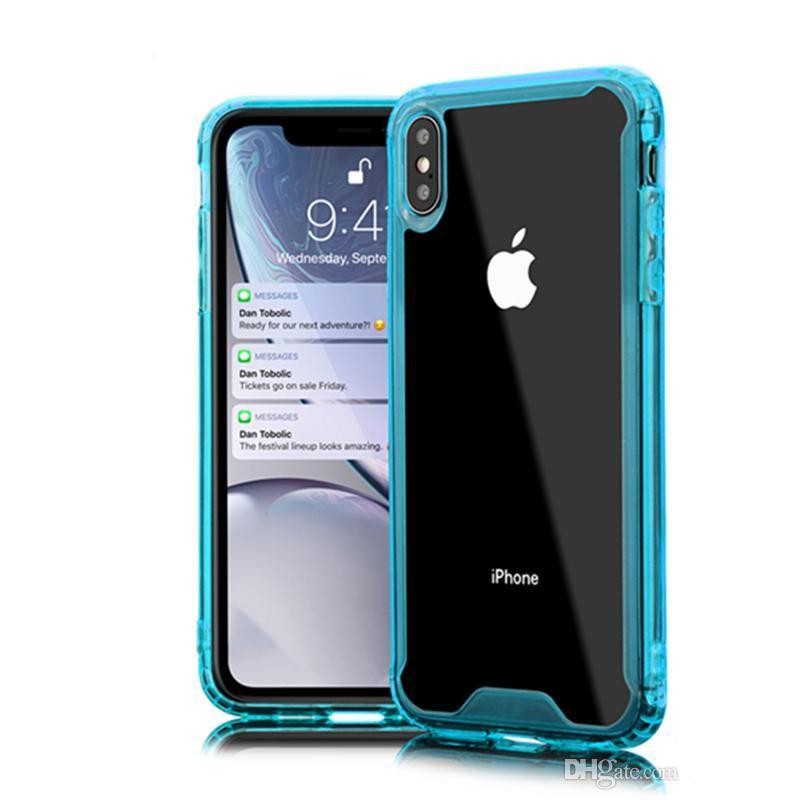 Cover in silicone acrilico trasparente per iPhone 6 7 8 Plus XS XR MAX Samsung S8 S9 S10 E S105G Note Mate 20 P30
