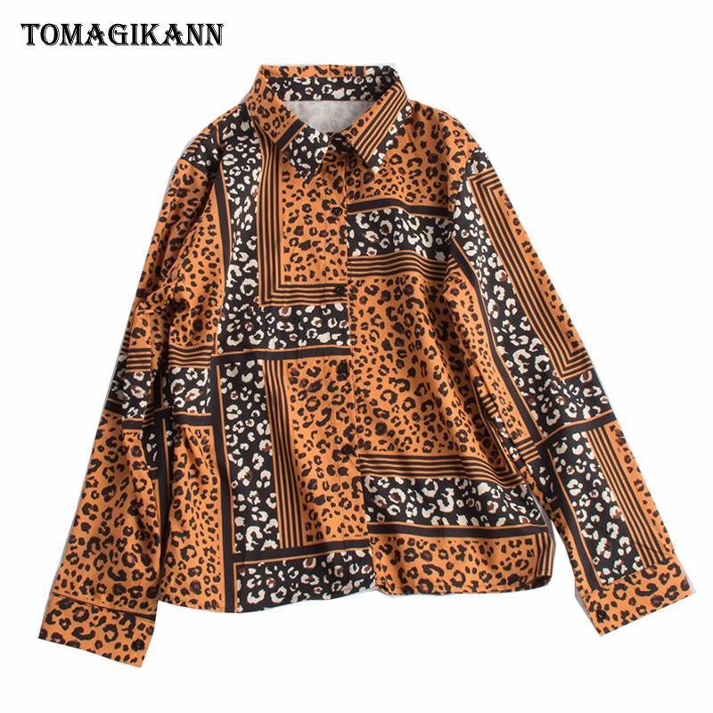 Colores de contraste Blusa Camisa Mujer Tops 2019 Streetwear Estampado de leopardo L Botones Bajar el cuello Manga larga Blusas femeninas