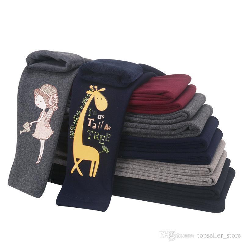 22 цвета зима девушки леггинсы утолщение теплые брюки детские длинные брюки дети мультфильм тощий одежда зима леггинсы девушка 4-14 лет