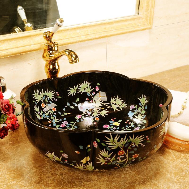 Jingdezhen forma de flor sanitários arte contador bacia de cerâmica lavatório pia lavabo banho pia de lavagem lado