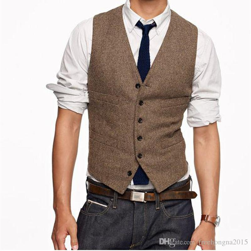 New Vintage Brown tweed Vests Wool Herringbone British style custom made Mens suit tailor slim fit Blazer wedding suits for men