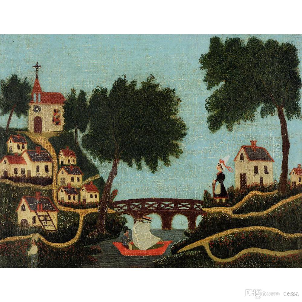 Wall art oil painting Henri Rousseau of Landscape with Bridge handmade animal picture for room decor large canvas