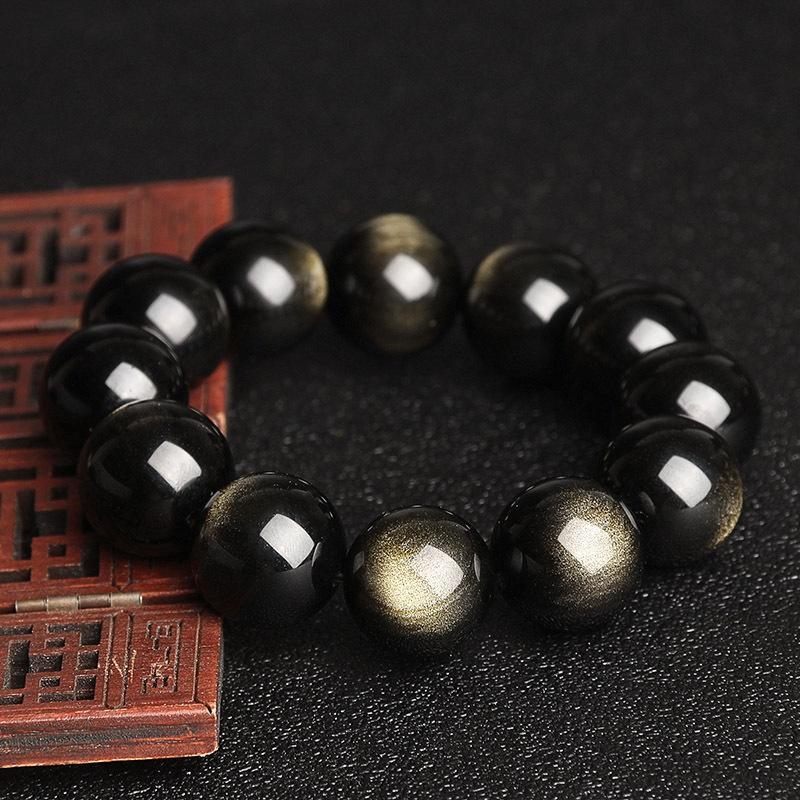 Tghjo doble ojo de obsidiana oro piedras sueltas productos semi-acabados hechos a mano bricolaje pulsera de cuentas de bricolaje accesorios de Obsidiana collar de cristal acc
