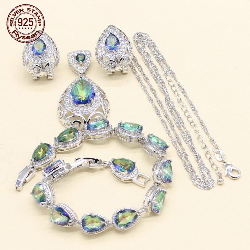 925 de prata carimbado conjunto de jóias mulheres colar de pingente de pulseira brincos de argola arco-íris azul semi-precioso presente de aniversário