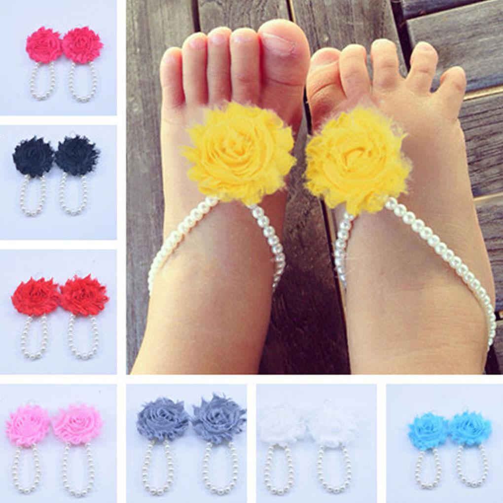 Newborn Girl Kids Baby Pearl Sandals Footwear Accessories Jewelry Foot Anklets