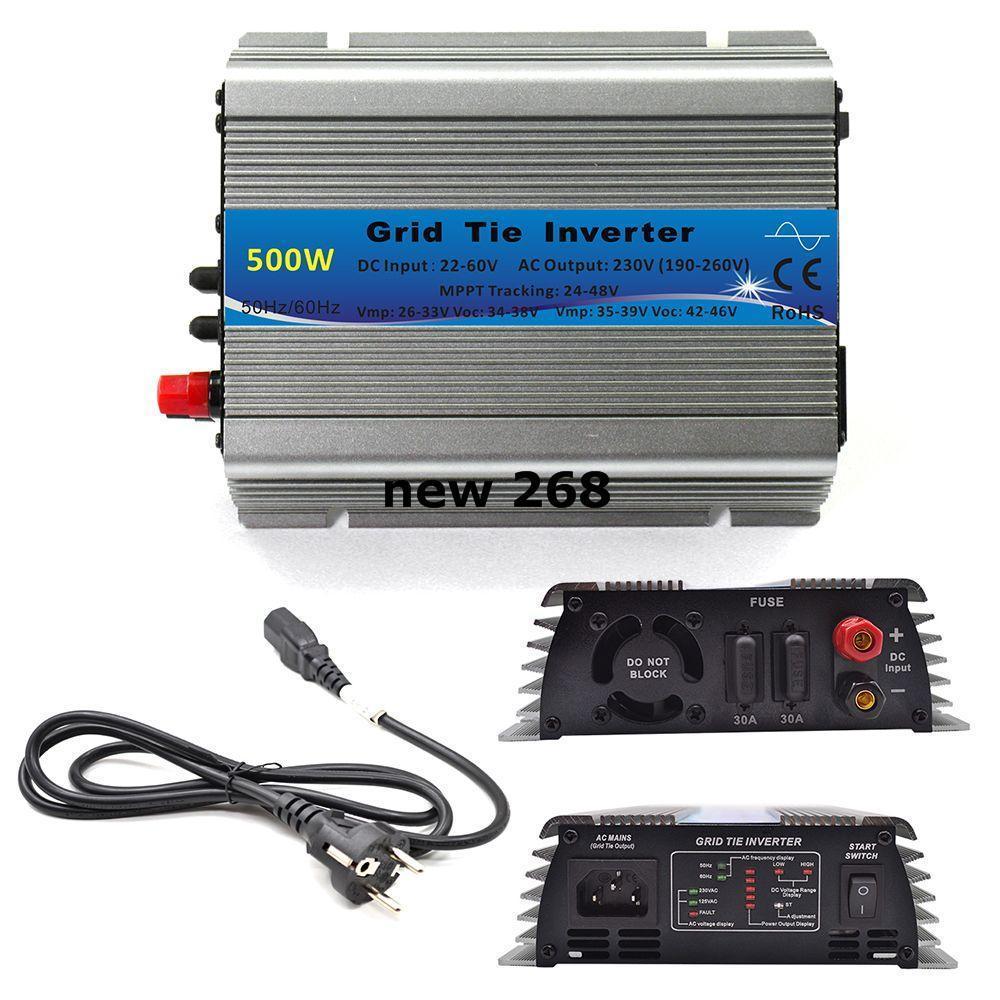 Freeshipping 500W Grid Tie Inverter MPPT Function 22-60VDC Input To 110V or 230VAC Pure Sine Wave Inverter 500W Solar Power Inverter