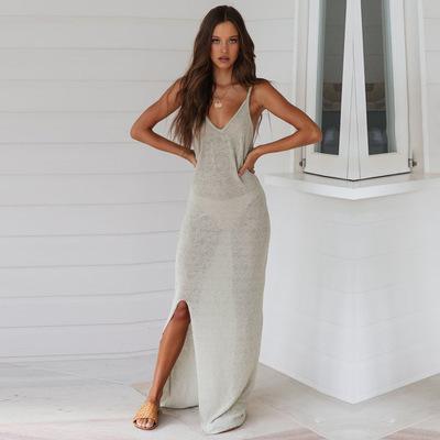 Для женщин платья мода 2020 нового стиль высокого качества Сплит Sheer платья без рукавов с роскошными женщинами с Hat Платье Streetwear