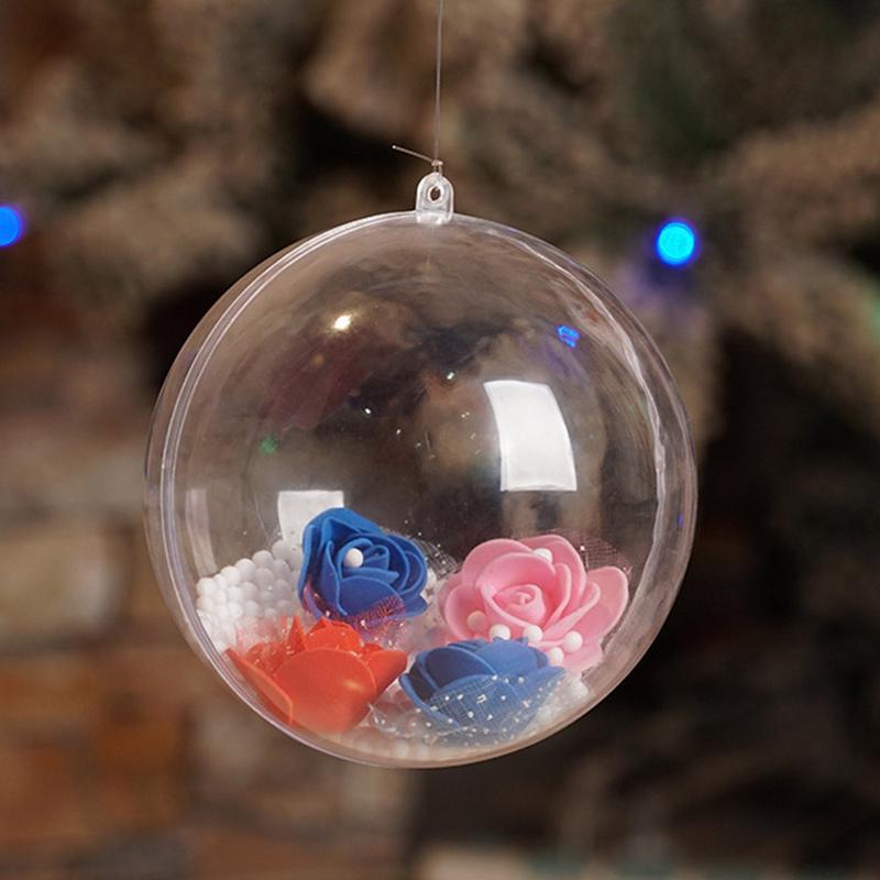 5pcs Christmas Tress Hanging Decorations Round Ball Transparent Open Plastic Clear Ornament Kids DIY Party Supplies 4/5/6/7/8cm