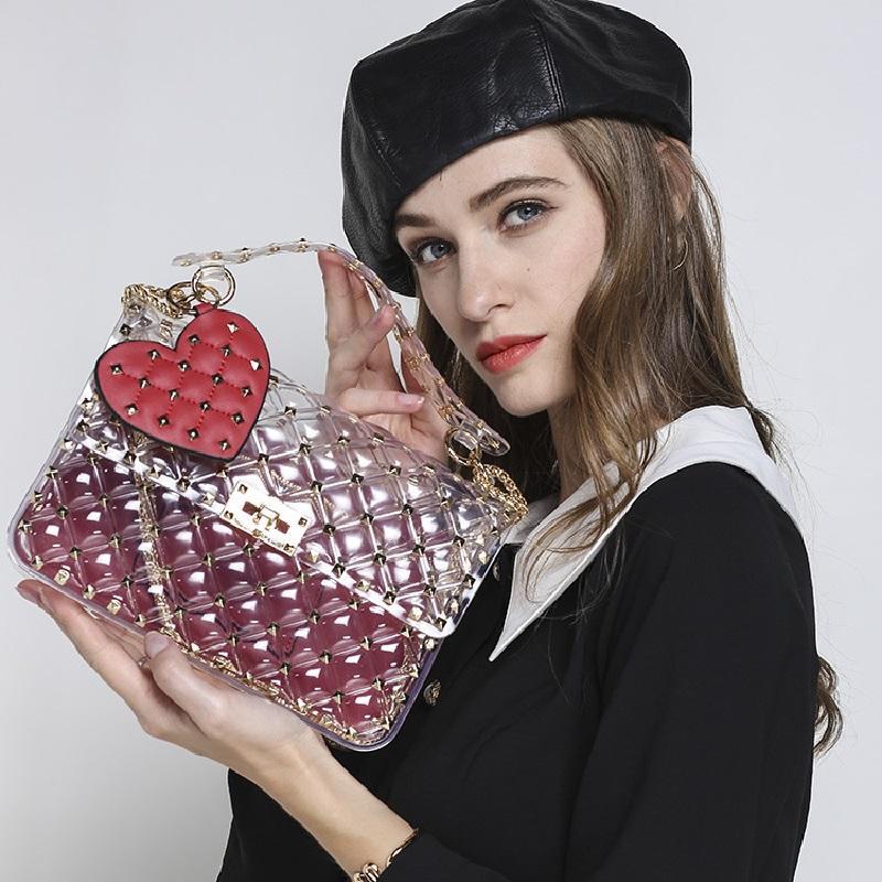 rebites saco transparente totes pvc claro plástico acolchoado sacos de praia cadeias de sacos bolsa mulheres verão 2018 de moda