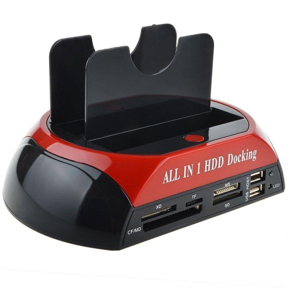 متعدد الوظائف HDD الإرساء محطة مزدوجة USB 2.0 2.5 / 3.5 بوصة IDE SATA HDD الخارجية القرص الصلب ضميمة صندوق قارئ بطاقة