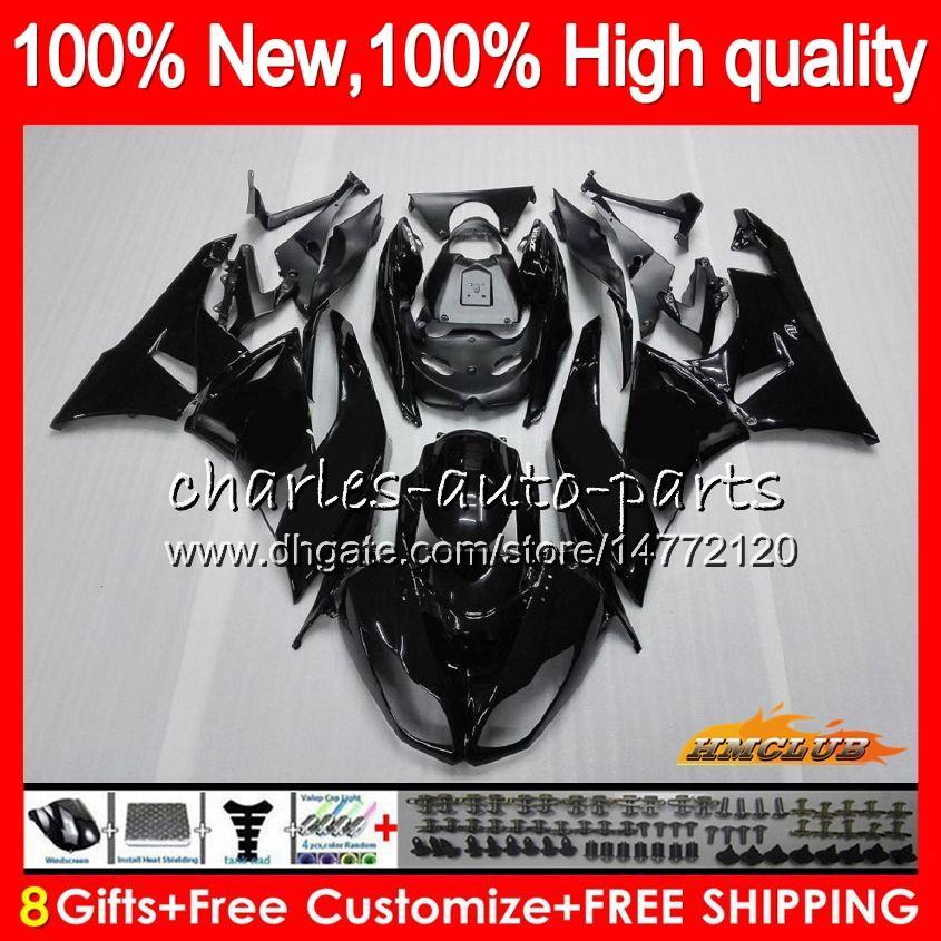 Cuerpo para Kawasaki ZX636 ZX600 ZX6R ZX6R 09 10 11 12 33HC.1 ZX 6R 636 600CC ZX636 ZX 6R 2009 2010 2011 2012 brillante negro 100% nuevo carenado