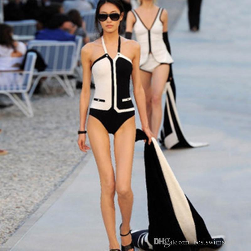 2019 Luxury Designer Swimwear Swimsuit Backless Preto Branco Triângulo Bikini One Piece ternos Swimwear Mulheres Vest Sexy Praia Swim Wear banho