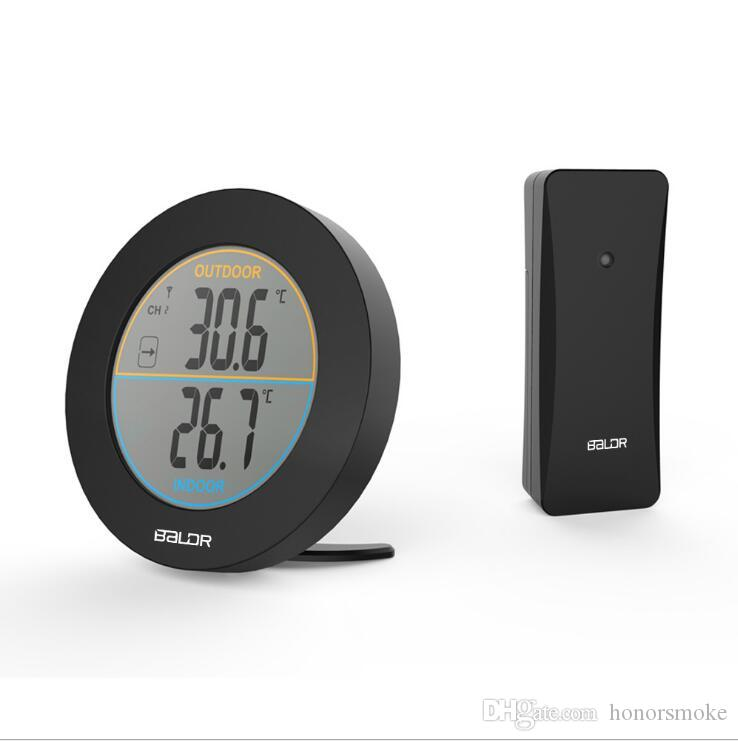 BALDR Round Wireless Thermometer Wetterstation Clock In / Outdoor-Temperatursensor schwarz weiße Farbe