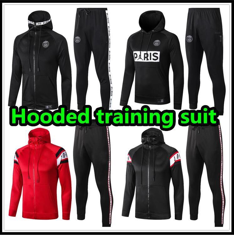 2019 2020 Jordam X Paris survetement jacket Training suit soccer Jersey tracksuits 19 20 MBAPPE Hooded tracksuit football hoodie set