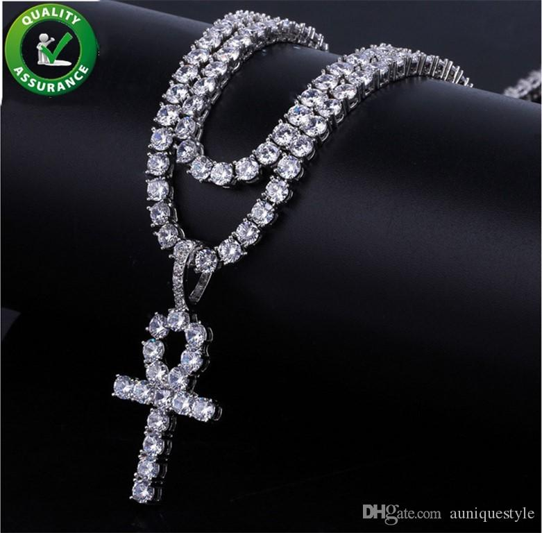 Iced Out Pendant Hip Hop Jewelry Cuban Link Tennis Chain Designer Necklace Micro Paved CZ Diamond Cross Pendants Men Luxury Bling Notre Dame Charms