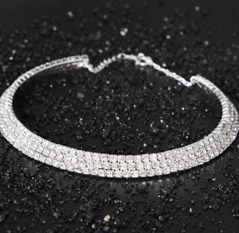accesorios de corto collar de joyas al por mayor cristal diamante artificial de múltiples capas completa de varias filas collar de novia de las señoras de moda de la personalidad