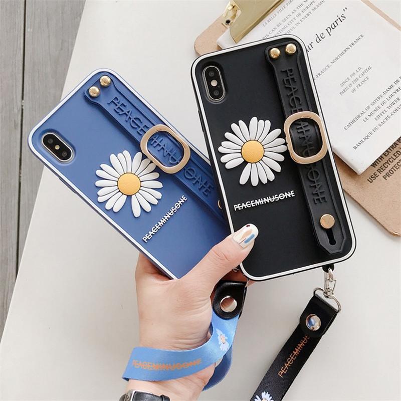 Silikon Bilek Tutucu Kasımpatı Telefon Kılıfı iPhone 11 Pro Max SE XR XS Kauçuk Bump Koruyucu Arka Kapak Kılıf İle Kayış