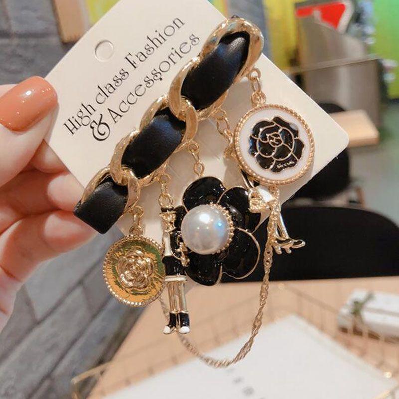 Wholesale Enamel Pearl Flower Brooches Black Weave Leather Brooch Pins Women Girl Suit Lapel Accessories