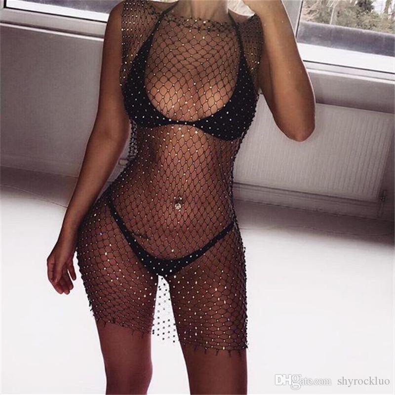 2020 European American Sexy Frauen Strass Kleid Frühling Sommer Split Gitter Nachtklub-Kleid multi Farbe Grid-Blitz-Diamant-Rundhalsausschnitt-Kleid