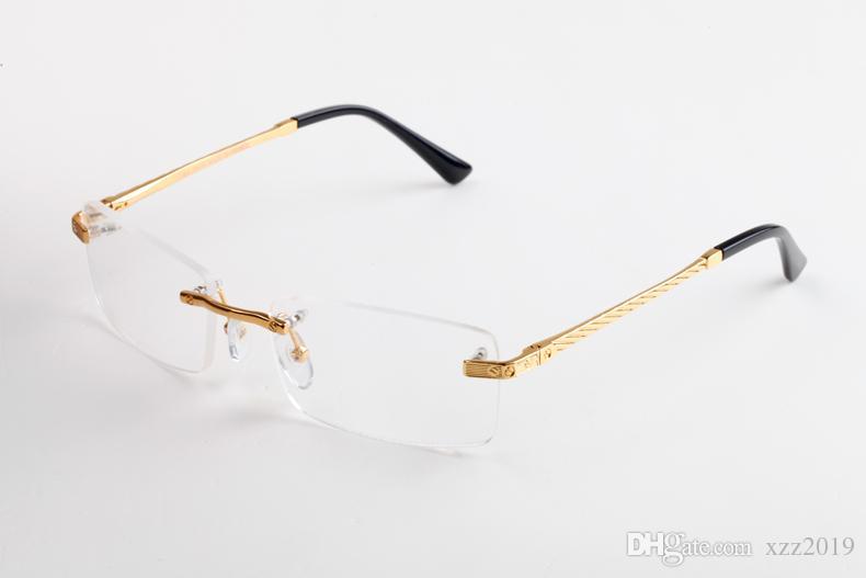 Прозрачные линзы очки без оправы солнцезащитных очков металлического каркаса Прямоугольника очки Различного выбор для Man Unisex высокого качество с футляром и Box