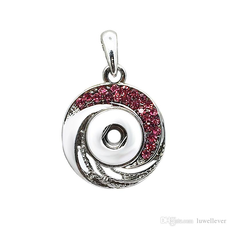 Fashion Interchangeable Metal Flower Tree Ginger Crystal Necklace 046 Fit 12mm Snap Button Pendant Necklace Charm Jewelry For Women Gift