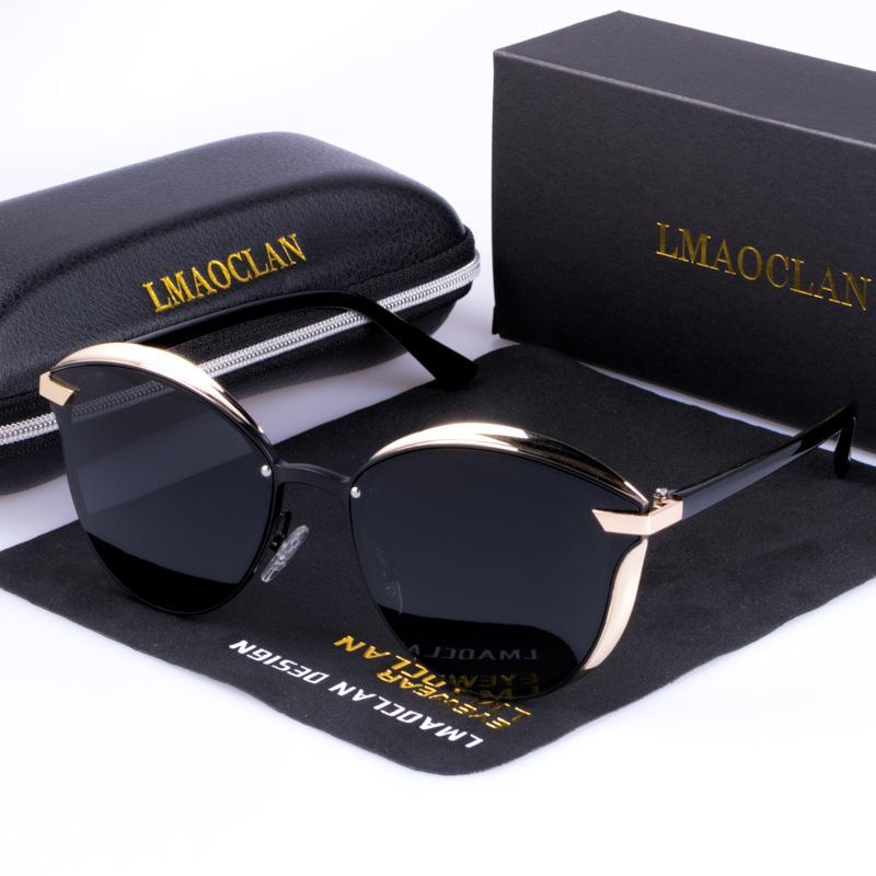 Luxe Femmes Lunettes de soleil mode HD polarisants Cat Eye Ladies Vintage Marque Designer Femme Sun Lunettes oculos Gafas SH190924