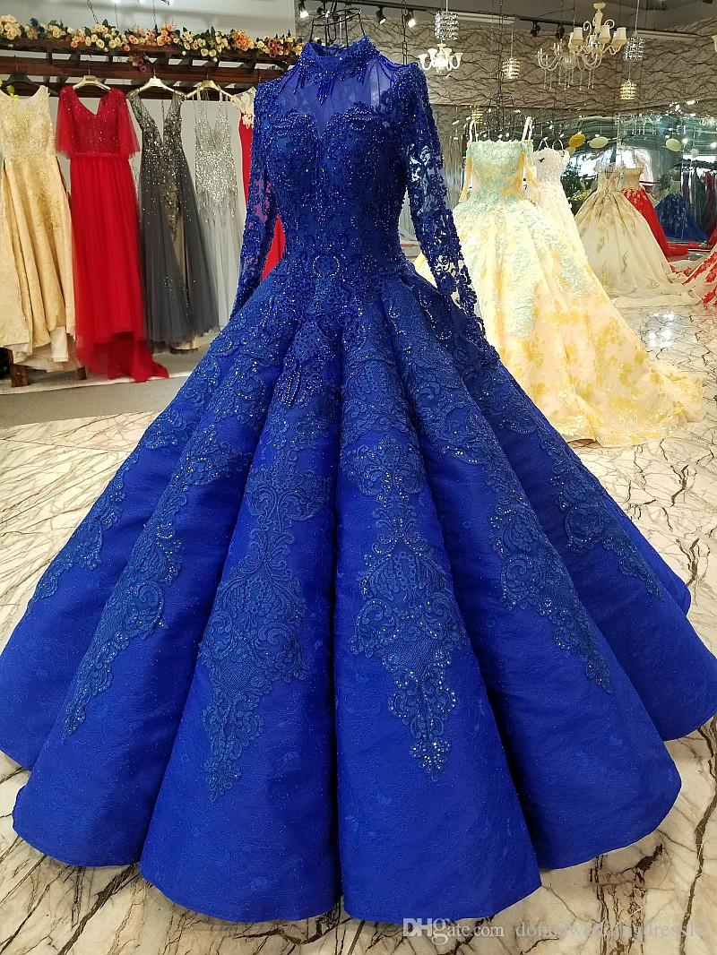 robe de mariage high quality royal blue ball gowns wedding dresses 2019  saudi arabian dubai lace up vintage long sleeves muslim bridal gowns  chiffon
