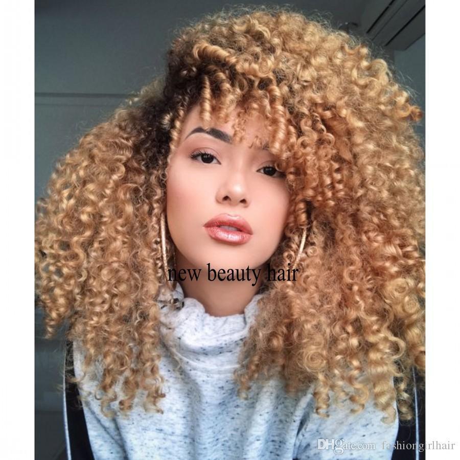 Honey Blonde Ombre 200 Densité synthétique avant de dentelle perruques crépus bouclés PrePlucked 360 dentelle frontale perruque noire pour les femmes avec des cheveux de bébé