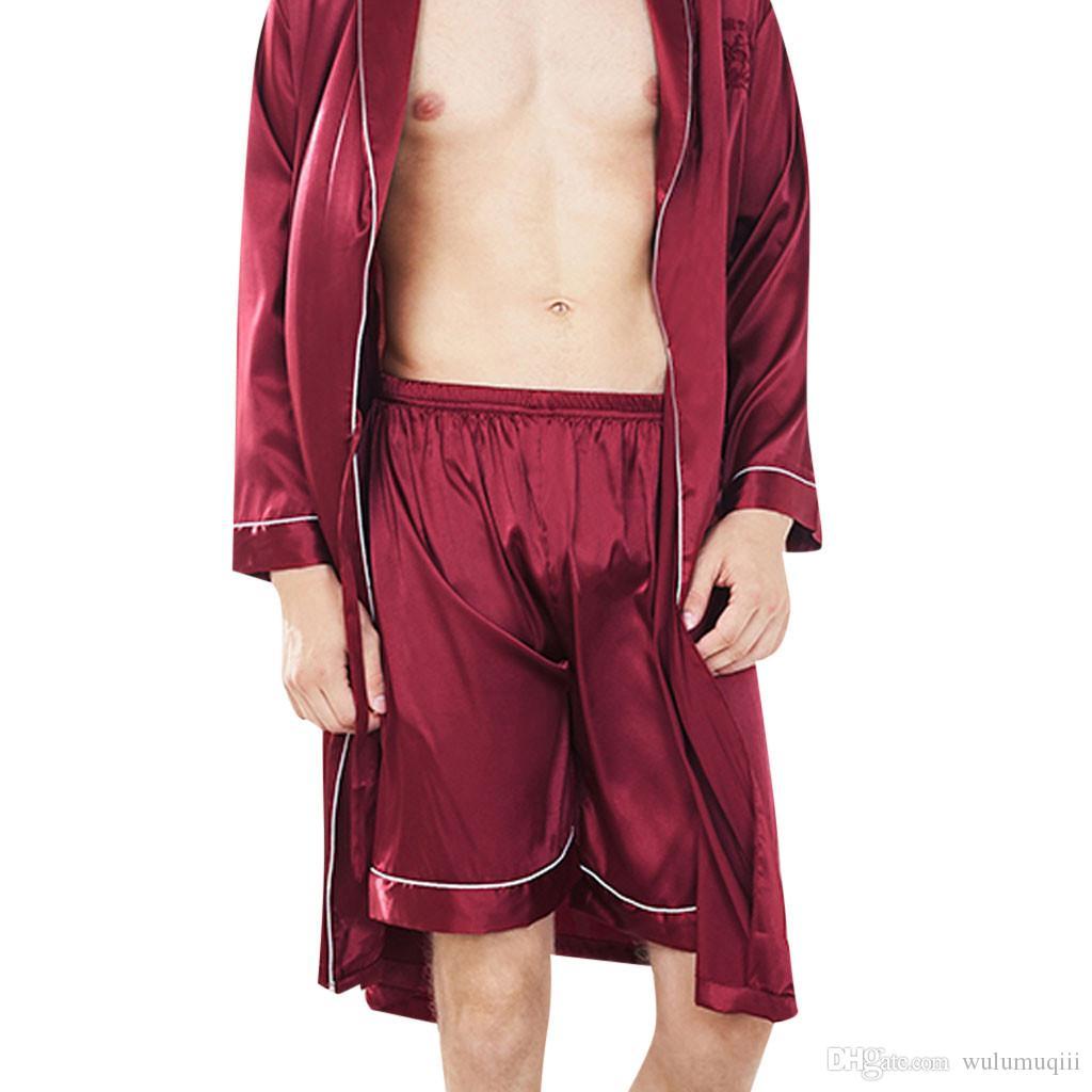 Mens Sonno Bottoms Sleepwear Uomo Intimo solido raso di seta Boxer Shorts da notte Pigiama