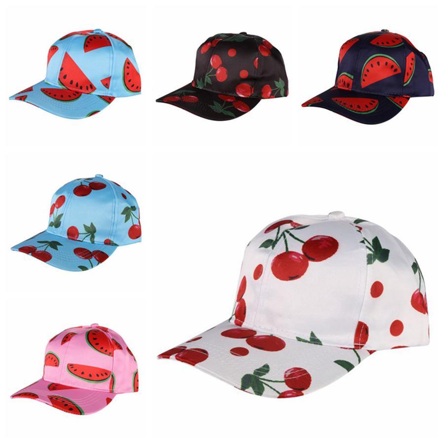 Frutas do verão Padrão Bone cereja Impressão Curvo Eaves Sun Cap Mulheres Hip hop Hats Girl Fashion Bonés de beisebol RRA2269