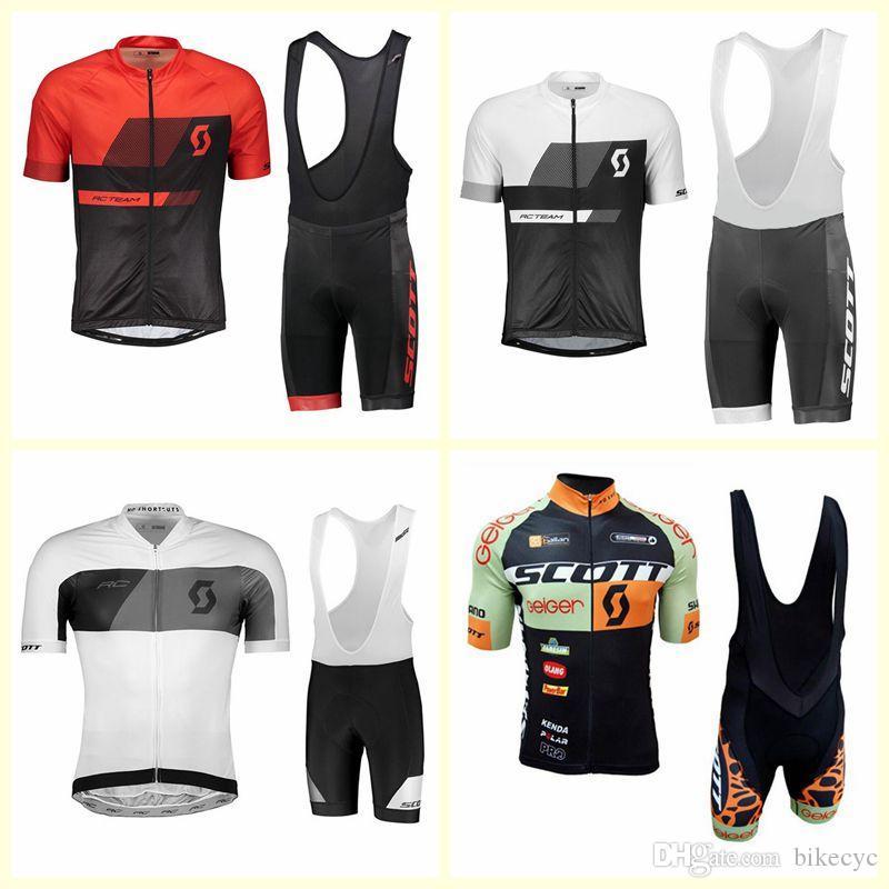 Scott Team Cycling Mangas cortas Jersey Babero Shorts Sets Mens Summer Bicicleta al aire libre Transmible Ropa de secado rápido U122509