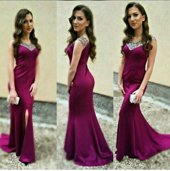 Cristallo laterale-fessura semplice sirena off-the-spalla Prom Dresses Vestido Para Madrinha De Casamento partito convenzionale abiti