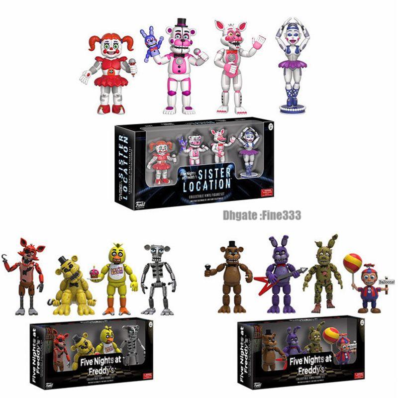 Gioco 4PCS cinque notti al Raccogliere giocattolo di Freddy Action Figure Set FNAF Foxy Bonnie Freddy Fazbear Suor Località Modello Dolls FNAF
