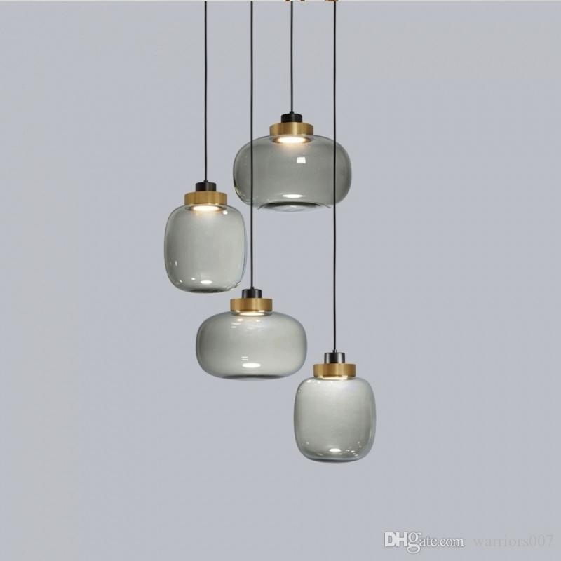 pendaison de verre moderne nordique lumières de couleur grise assis chevet chambre restaurant salle Lampe suspension conduit luminaire industriel