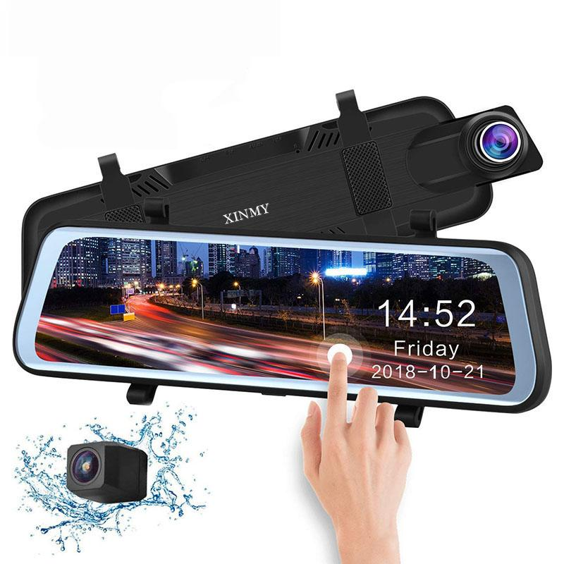 2019 10 pouces Touche tactile Touche multimédia de voiture de support DVR Vue arrière Miroir Dual Lens Reverse Backup Caméra 1080P 170 Full HD Dash Caméscope