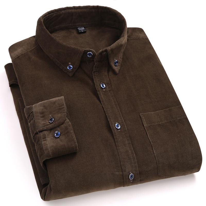 Qualität aus 100% Baumwolle Men Shirt Frühling und Herbst Herren Bekleidung Fest Weiche Corduroy Mann Kleid Shirts verdicken Big Size Male Hemd