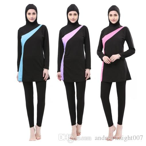 Discover delicate colors attractive fashion 2019 New Muslim Swimsuit Sunscreen Islamic Ladies Swimwear Modest Swimwear  With Hat Printed Muslim Swimming Clothes For Femal DK745MZ From ...