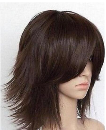 Бесплатная доставка + + + + красивые какао слоистых короткие прямые косплей парик