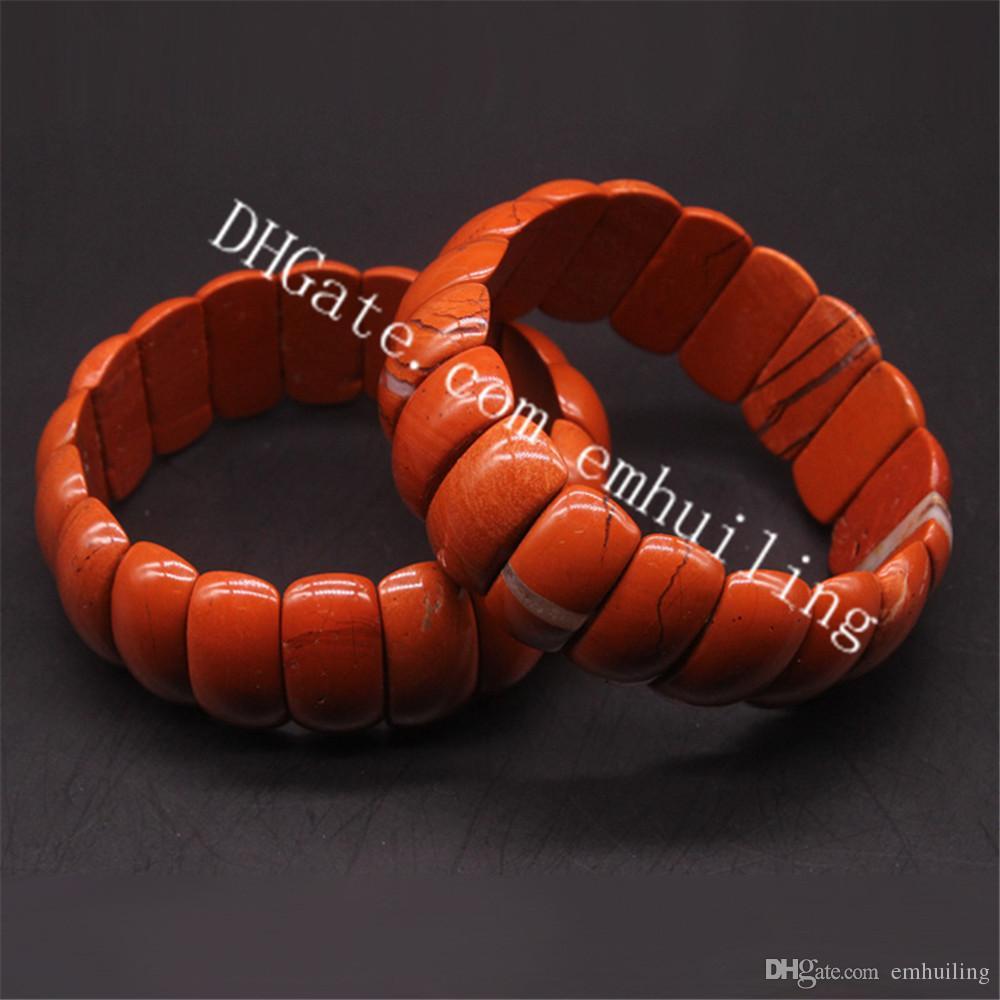 10Pcs Wholesale Natural Red Jasper Stone Energy Bracelet Root Chakra Brecciated Jasper Gemstone 20mm 25mm Beads Extansible Bracelet Jewelry