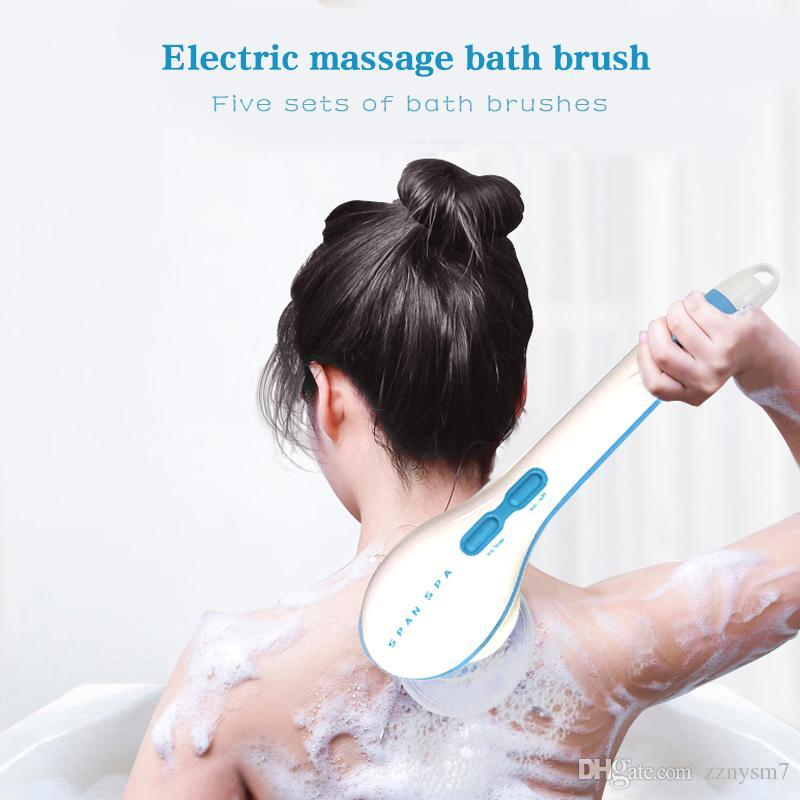 5 in1 Electric Shower Brush Handheld Spin Massage Cleaning Bath Brush Water Resistant Long Handle Scrub Health Care Tool