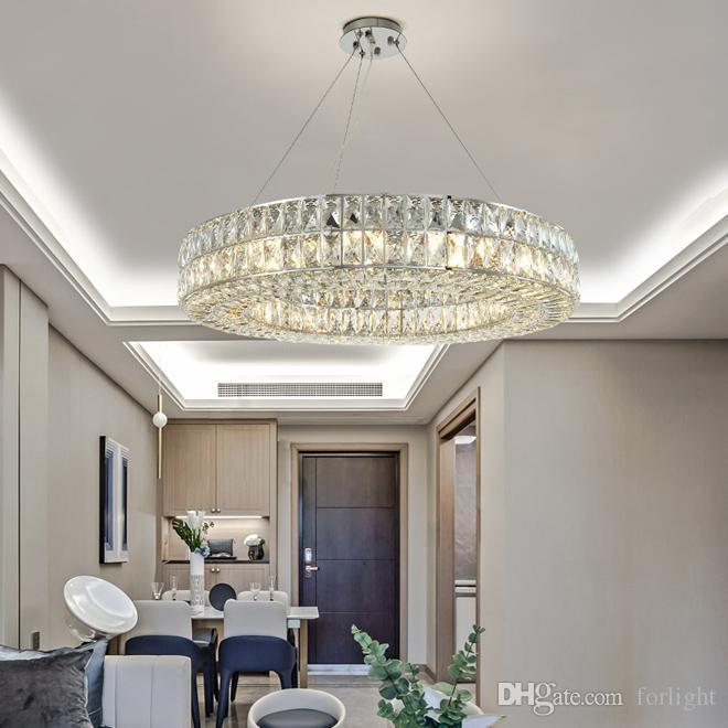 Новая коллекция роскошный современный хрустальная люстра светильники современные круглые люстры Светодиодные подвесные светильники регулируемые хромированные