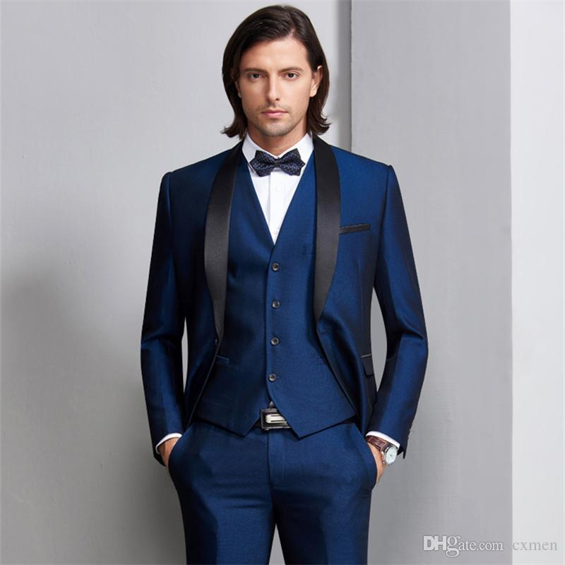 Tailor Made Navy Blue Men Wedding Suits Black Satin Shawl Lapel Groom Tuxedos 3 Piece Jacket+Pants+Vest Groomsman Suits Best Man Blazer