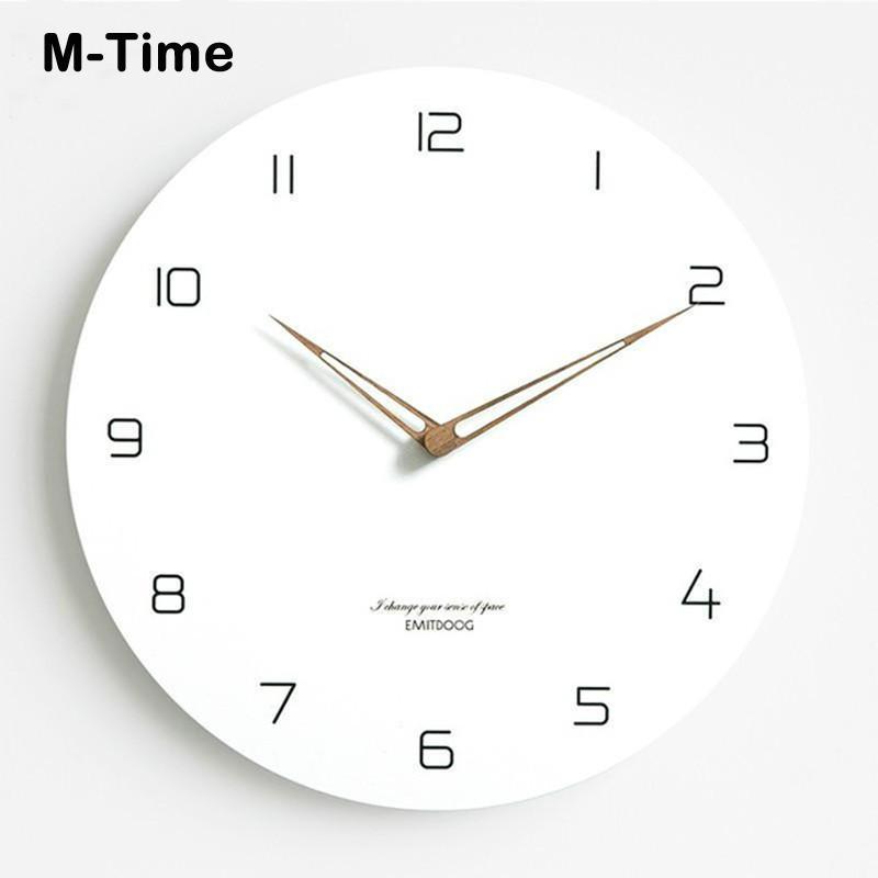 12 дюймов Вуд настенные часы Простой современный Nordic Минималистский часы Художественный Европейский Brief Деревянные стены часы Home Decor Бесшумный подарков
