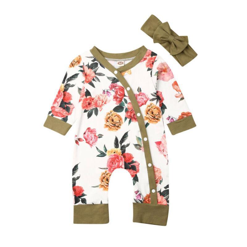 الوليد طفلة 2PCS الخريف مجموعة ملابس زهرة رومبير ارتداءها سترة القفز الزي